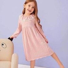 Одежда для сна для маленьких девочек, детский кружевной халат с цветочным рисунком, ночная рубашка для девочек, детский халат, пижама, одежда для сна, ночное платье