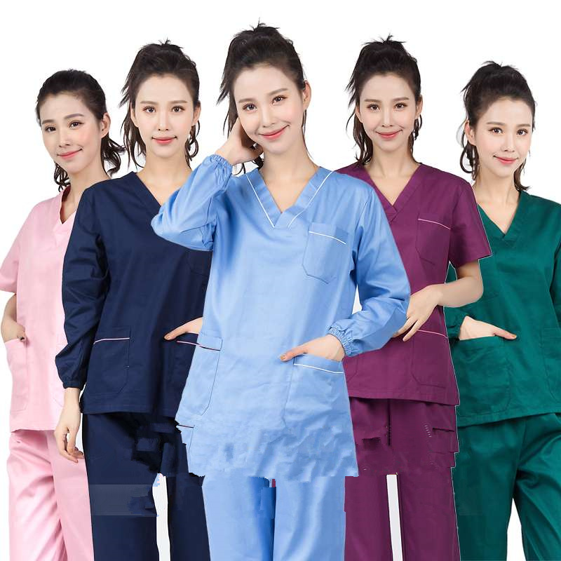 Hospital Doctors Medical Sets Long-sleeved Uniforms Suits Dental Clinic Beauty Salon Workwear Clothes Nursing Scrubs Tops Pants