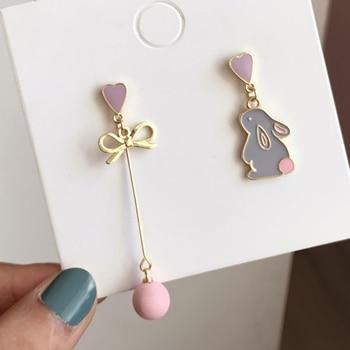 Korean Style Flower Cute Animal Dangle Earrings For Women Moon Stars Kitten Rabbit Balloon Asymmetric Earring Party Jewelry Gift 2