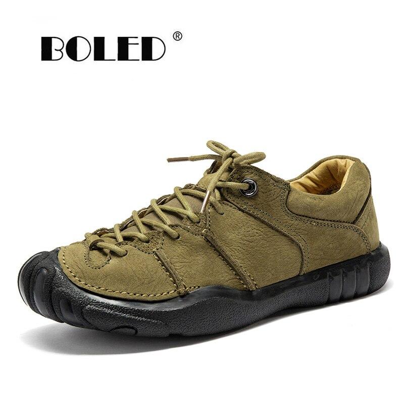 Natural Leather Vintage Men Shoes Lace Up Casual Flats High Quality Platform Non-slip Rubber Autumn