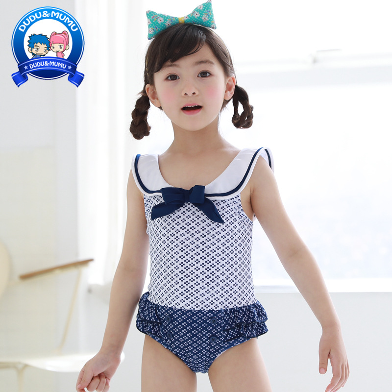 New Style KID'S Swimwear Cute GIRL'S Tour Bathing Suit One-piece Bikini Swimwear Cute Navy Style With Swim Cap