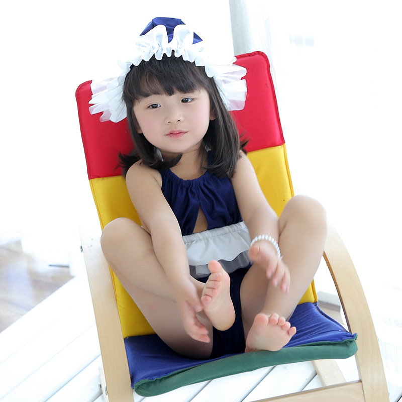 2018 South Korea 2-12-Year-Old Baby Children Girls Dress-One-piece Bikini Bathing Suit With Swim Cap Olive Flower 1603