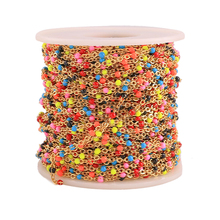 Width 2mm 1m Stainless Steel Mix Gold Cable Enamel Chain Bulk  Chain Necklace Diy Jewelry Findings Wholesale Lots Bulk