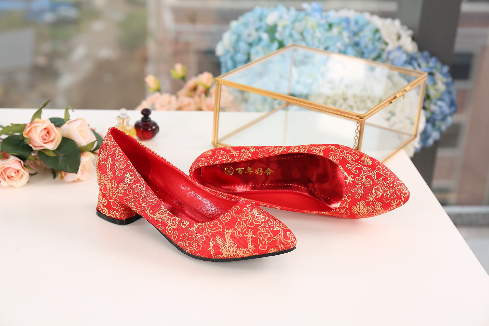 Marriage Shoes Red Chinese Style Embroidery Embroidered Chunky-Heel Semi-high Heeled Bridal Shoes Wedding Shoes Red Shoes Cheong