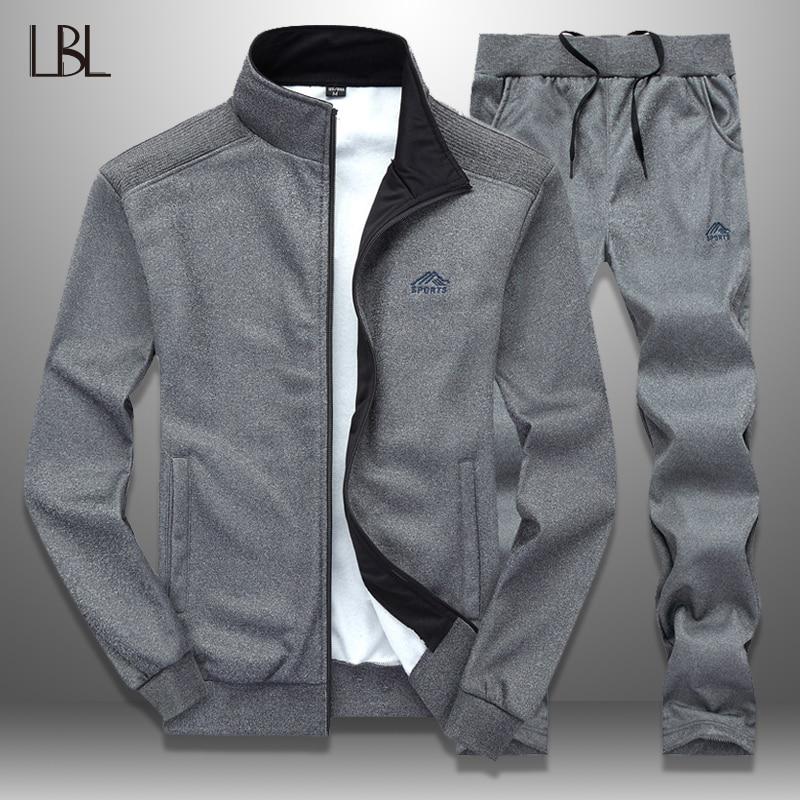 LBL Sportswear Tracksuit Men Spring Autumn Mens Track Suits 2019 Two PCS Sweat Suit Zipper Jacket+Sweatpants Male Brand Clothing