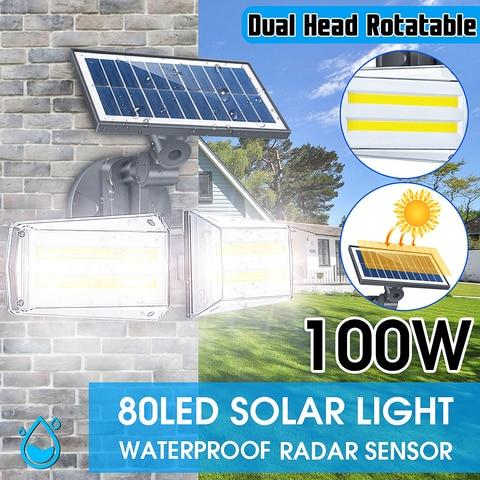 ajustavel dupla cabeca solar luz de parede 100 w ao ar livre conduziu a iluminacao