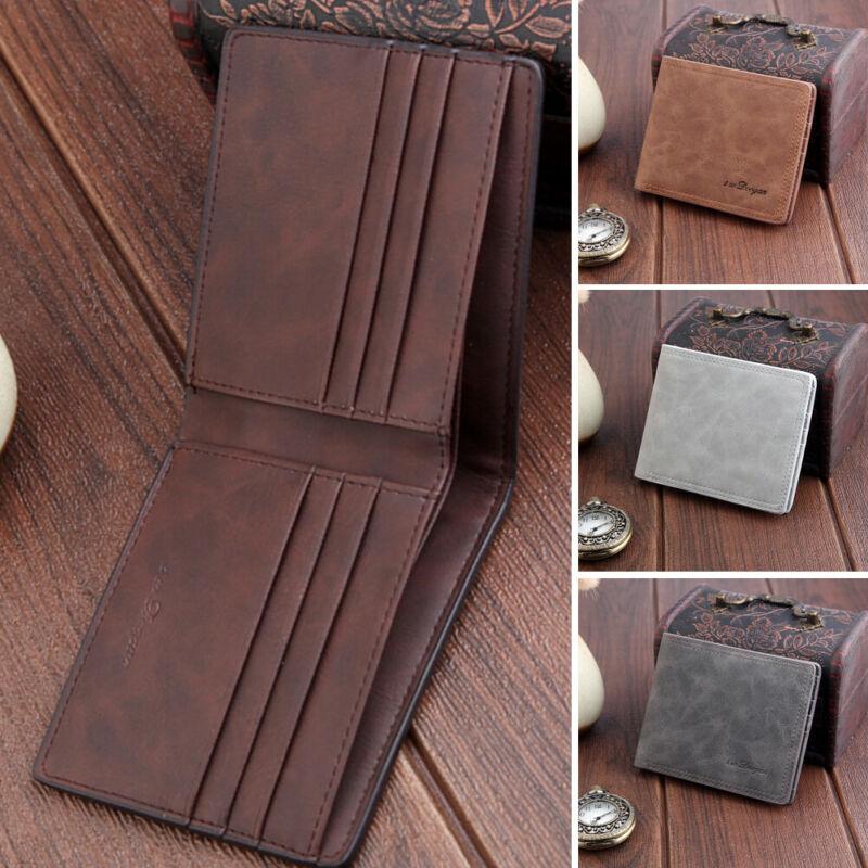 Casual New Men's Wallets Leather Solid Luxury Bifold ID Card Holder Short Purse Wallet Billfold Business Male Slim Clutch Wallet