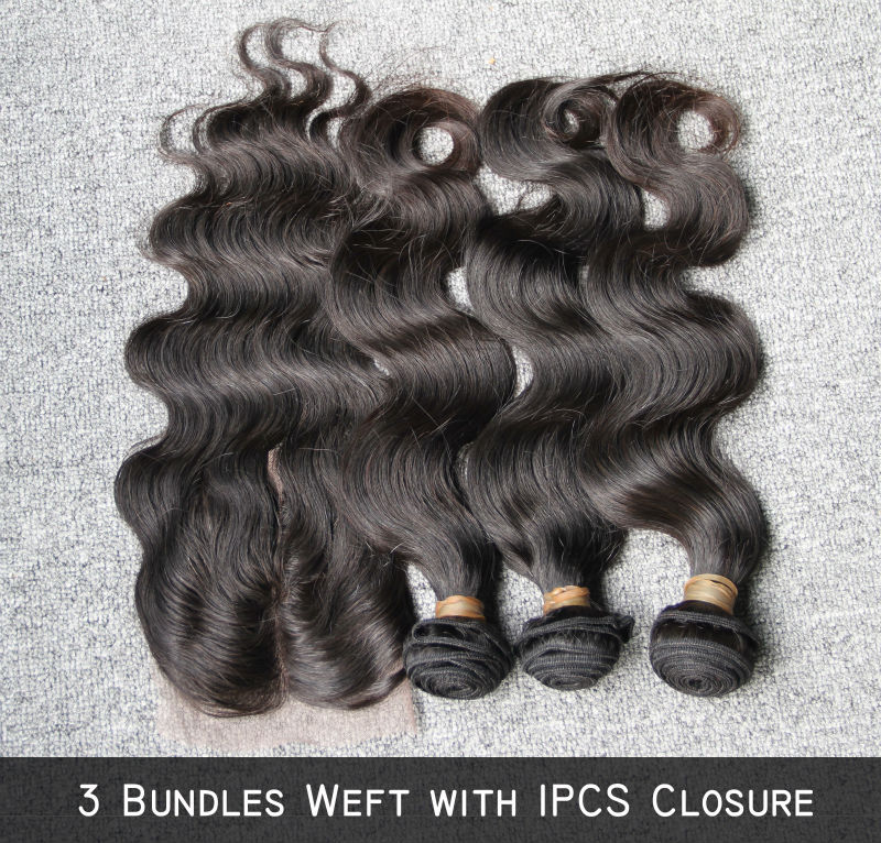 Rosabeauty 10-28 inches Unprocessed Peruvian Virgin Hair Bundles With Closure Body Wave 100% Human Hair Weaves Total 4Pcs/Lot