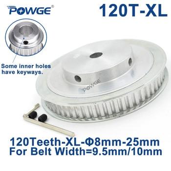 POWGE Trapezoid 120 Teeth XL Synchronous pulley Bore 8mm for width 10mm Timing  Belt 120-XL-037 BF  gear wheel 120teeth 120T