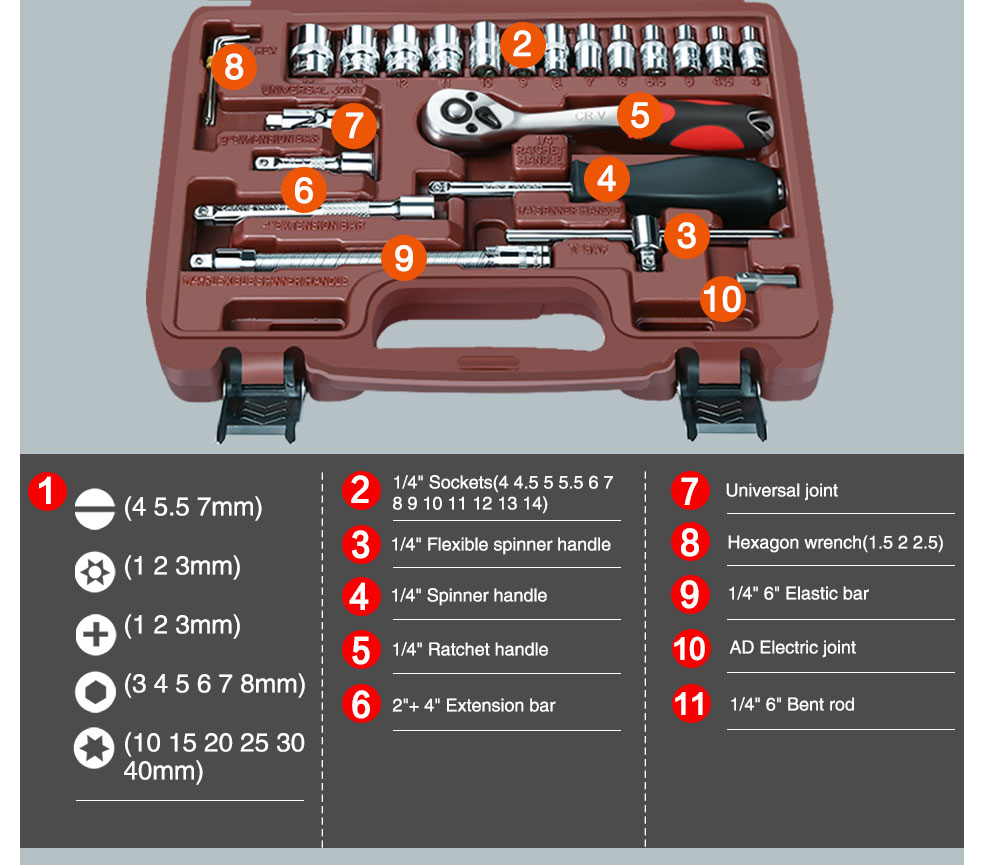 AI-ROAD Household Multifunction Car Repair Tool Kit Home 72 teeth with sockets