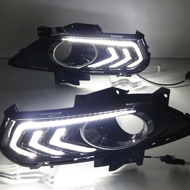 Car Flashing 2PCS For Ford Mondeo Fusion 2013 2014 2015 2016 Car DRL 12V LED Daytime Running Light With Turn Yellow Signal Relay