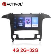 Hactivol rádio automotivo, rádio automotivo com android 9.1, 2g + 32 gb, para ford s max s max 2007 2008 som automotivo com dvd player, gps, navi, acessório para automóveis, 4g