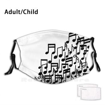 Musical Jumble Adult Kids Anti Dust Pm2.5 Filter Diy Mask Music Musical Musicnotes Lineart Simple Minimal image