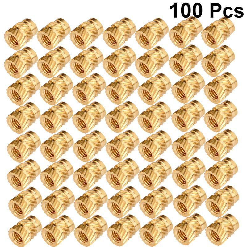 100 шт. Встраиваемая гайка с резьбой накатанный тепловой набор м3 резьба Латунная гайка Встраиваемая гайка вставная гайка для печати 3D-принте...
