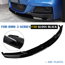 For BMW 3 Series F30 M-Sport Front Bumper Lip Spoiler Diffuser Fins Body Kit Car Front Bumper Lip Spoiler Splitters Black