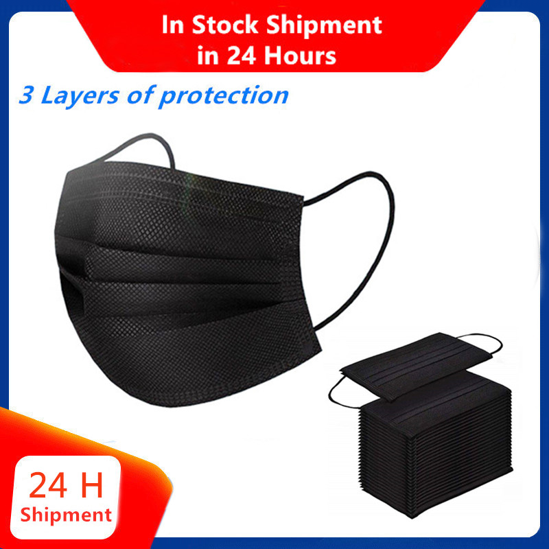 50Pieces Black 3-layer Protection Non-woven Anti Dust Prevent Respirator Mask Carbon Fiber Mask In Store