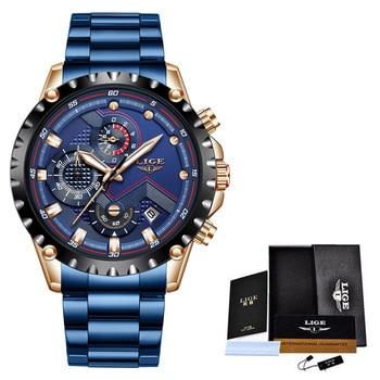 2020 New LIGE Blue Casual Mesh Belt Fashion Quartz Wristwatches Mens Watches Top Brand Luxury Waterproof Clock Relogio Masculino - S gold blue, China