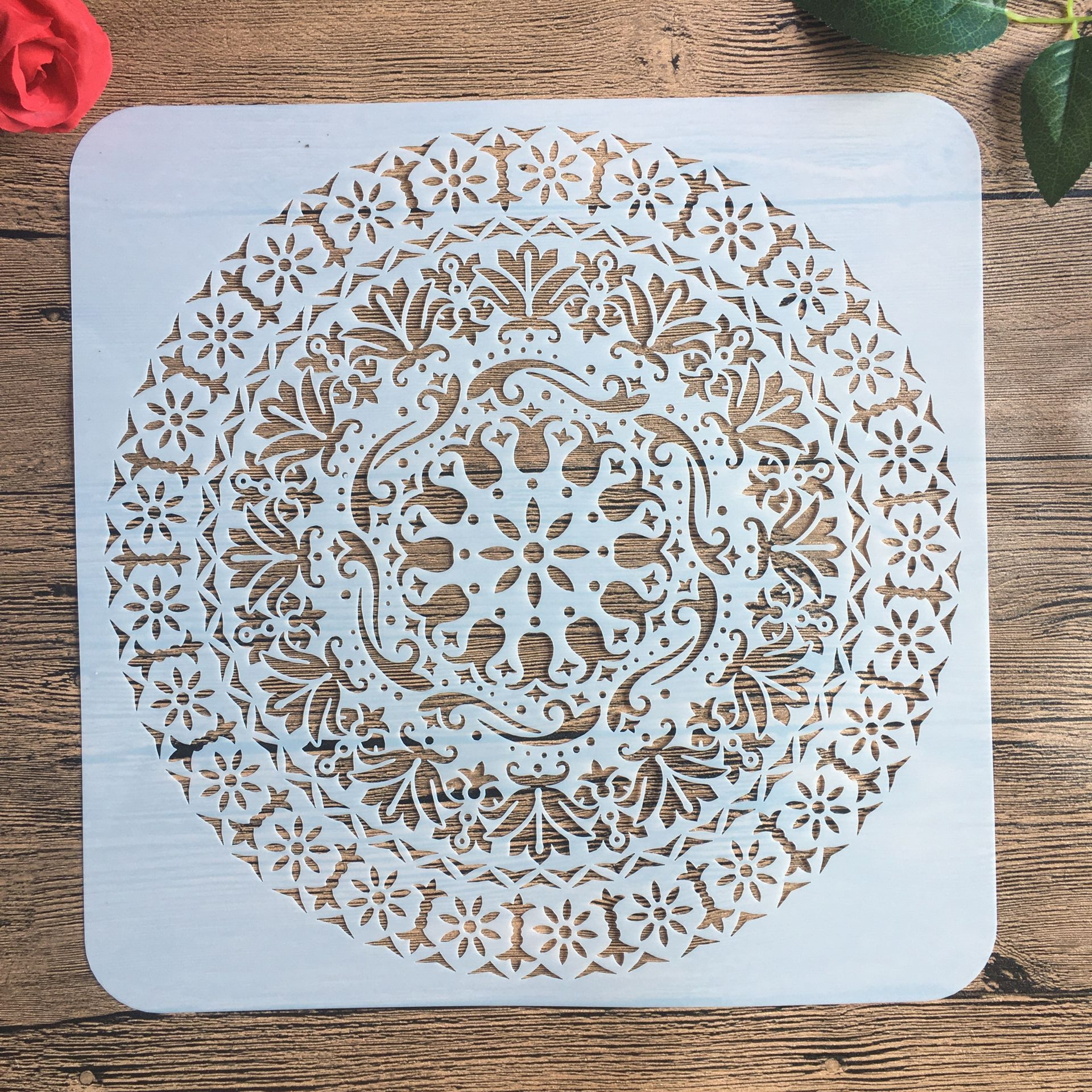 30 * 30 Cm Large Round Flower Mandala Diy Stencil Painting Scrapbook Coloring Engraving Album Decoration Template Stencil -d
