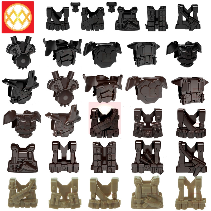 10pcs WW2 MOC Soldier Gunner Vest Military Swat Building Blocks Bricks UK US German Army Armor Part Bricks Gifts Toys For Kids(China)