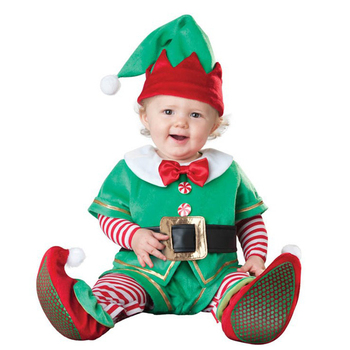 Toddler Christmas Cosplay Santa Claus Costumes New Year Elf Deer Party Boys Girls Performance Clothing with Hat 90-160CM