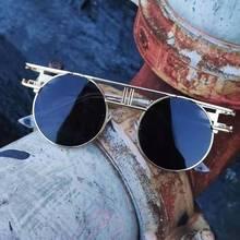 Round Circle Steampunk Sunglasses Men Women Vintage Sun Glasses Brand Design Blue Mirror Lens Oculos De Sol Shades UV Protection