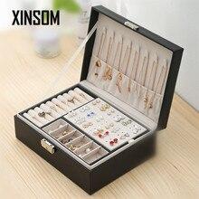 Xinsom moda jóias caixa nova alta capacidade jóias caixa de armazenamento colar brincos anéis pulseiras caso caixão feminino meninas presente