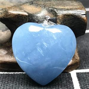 Image 2 - Natürliche Blaue Aquamarin Anhänger Für Frauen Mann Kristall 925 Silber 23x10mm Herz Form Perlen Stein Halskette Anhänger schmuck AAAAA
