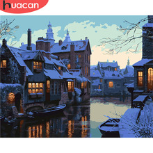HUACAN Painting By Numbers City Scenery Kits Drawing Canvas HandPainted Gift DIY Oil Pictures Night Home Decoration
