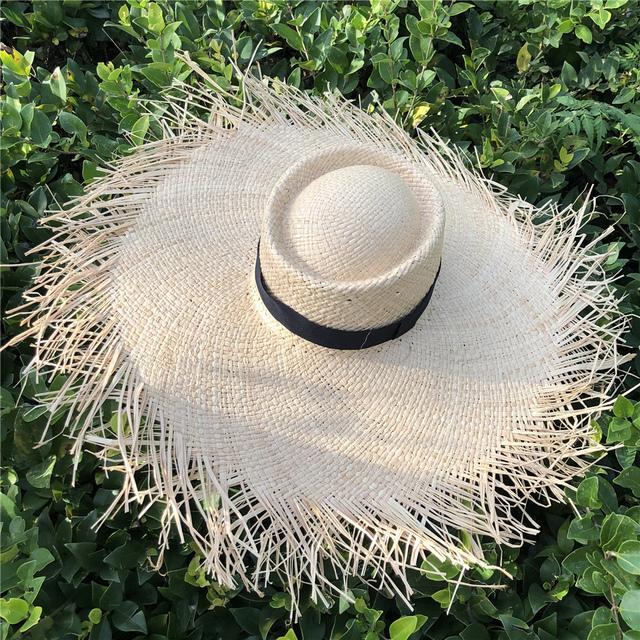 Oversized Hat Big Brim 20cm Raffia Sun Hat Wide Brim Beach Hats Ladies Soft Straw Shade Hat
