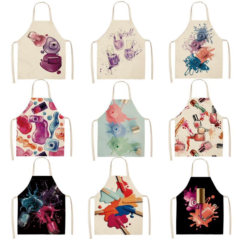 1 Pcs Kitchen Apron Color Nail Polish Bottle Printed Sleeveless Cotton Linen Aprons Men Women Home Cleaning Tools 66x47cm