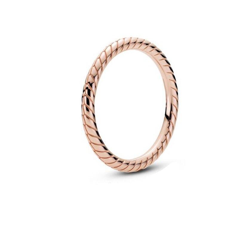 Bague à chaîne en argent Sterling 925 pour femmes, bague à motif serpent rose, de marque originale, bijoux à cadeau, nouvelle collection d'automne 2020