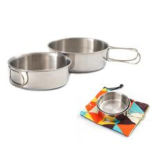 Outdoor 304 Stainless Steel Bowl 2 Pc Set Portable Mini Folding Hiking Backpacker Camping Tableware Picnic