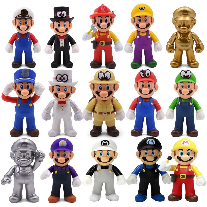13cm Mario Bros Luigi Yoshi Koopa Yoshi Mario Maker Odyssey Mushroom Toadette DONKEY KONG PVC Action Figures Toys Model Dolls