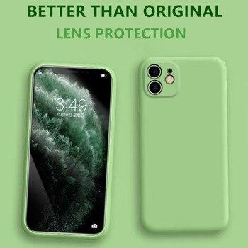 Funda de silicona líquida oficial para iphone 11 Pro MAX 7 8 6 6s Plus X XR XS Max lente completa protectora nueva cubierta trasera suave mejorada