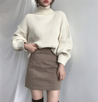 Ailegogo New 2020 Women Pullovers Sweater Knitted Autumn Winter Thick Warm Turtleneck Lantern Sleeve Casual  Loose Tops 3