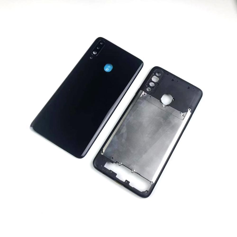 Для Samsung Galaxy A20s A207 A207F A207M корпус средняя рамка + задняя крышка аккумулятора задняя крышка + объектив камеры + клей