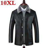 new plus size 10XL 9XL 8XL genuine leather coat for men sheepskin leather hooded jacket winter jackets for men free shipping