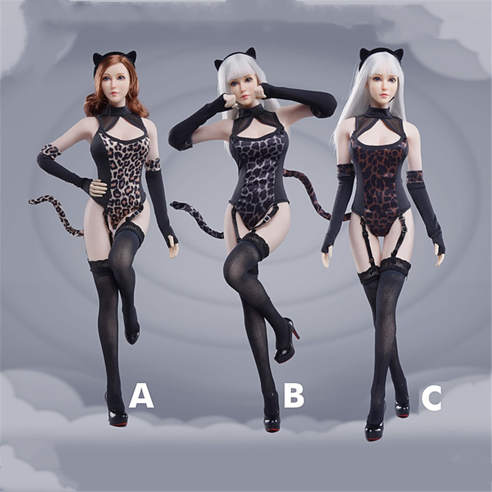 1/6 FG072 <font><b>Sexy</b></font> Female Japanese Cartoon Leopard Pattern Conjoined Suit Seamless Stockings Accessory Model for 12'' Action <font><b>Figure</b></font> image