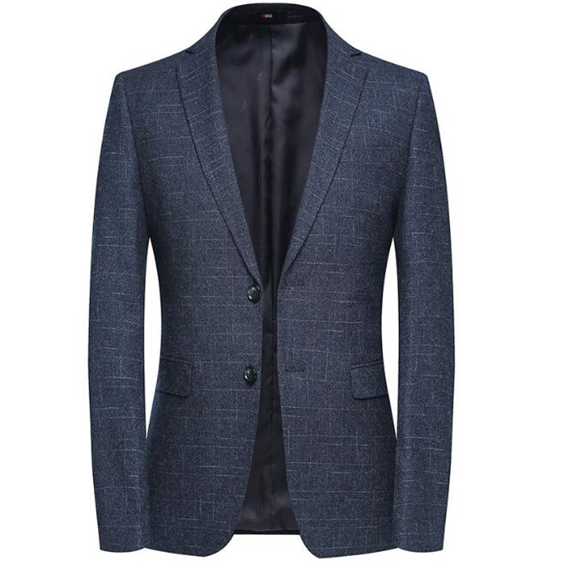 Coat Business Casual Overcoat Men's Spring Autumn Blazer Jacket Youth Blazer Grid Suit Jacket Slim Fit Blazers
