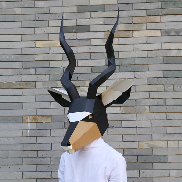 מסכת ראש אוריגמי - תיש שחור 1