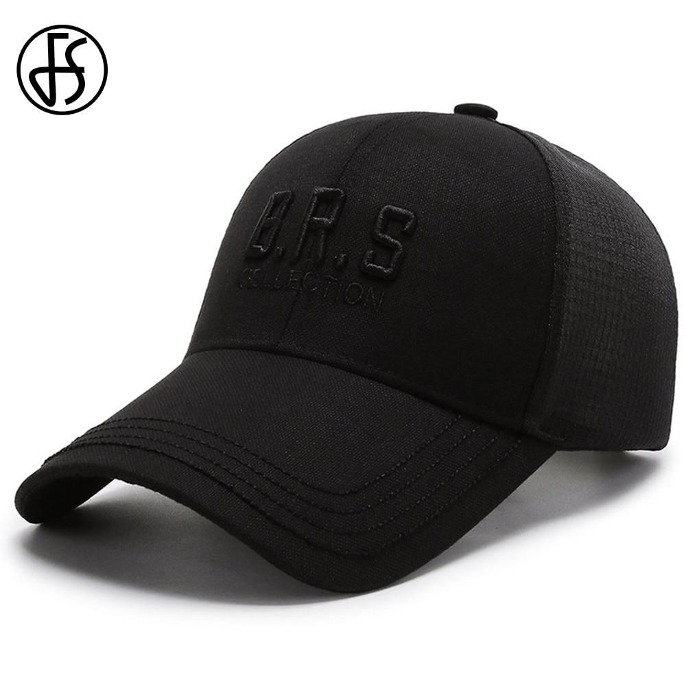 FS 2021 Summer Long Brim Sunscreen Baseball Cap For Women Men Breathable Mesh Trucker Hat Outdoor Fishing Hats Casquette
