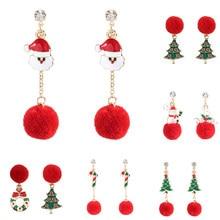 Pendientes colgantes de Navidad con forma de bola de peluche, corona árbol Navidad, bastón, muñeco de nieve, Papá Noel
