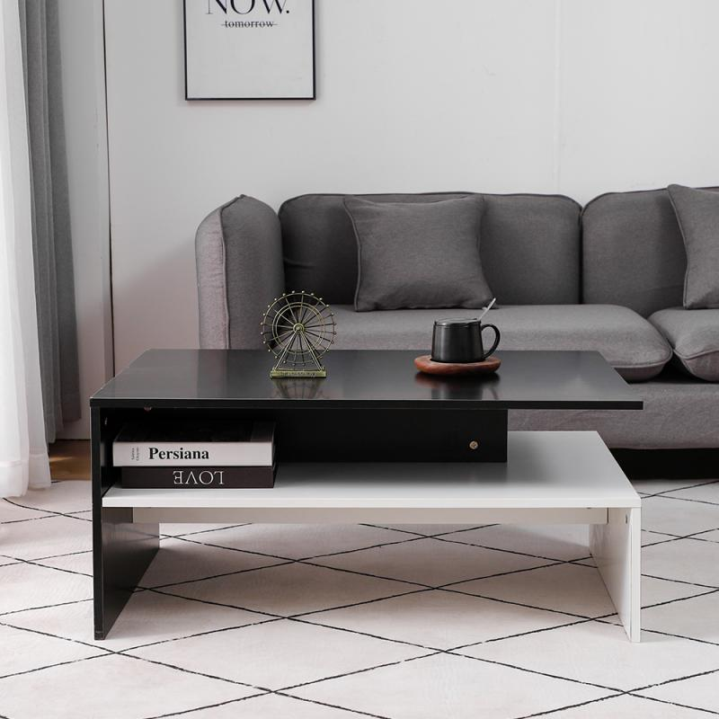 New Arrival Coffee Table Modern Chipboard Oak Wooden Table For Living Room Household Furniture Side Table Fashion 90x42x60cm HWC