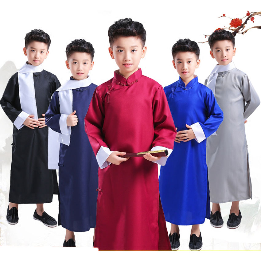 Chinese Traditional New Year Costumes For Children Girls Classic Tang Suit Hanfu Xiangsheng Crosstalk Robe Gown Performance