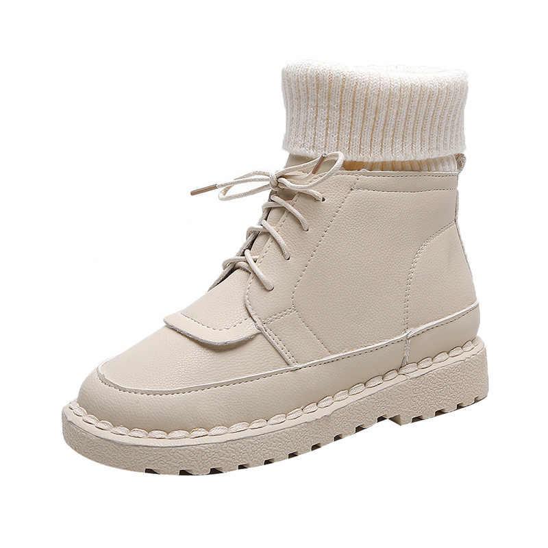 Sonbahar ve kış patlama süet tuval renk eşleştirme vahşi yüksek top Yün mouthboots kadın ayakkabı