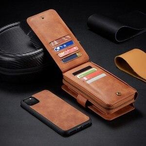 Image 4 - Zamek portfel skórzane etui dla iPhone 11 Pro Max Xr X Xs 8 7 6 6S Plus magnetyczny odpinany torebka etui pokrywa w/11 posiadacz karty