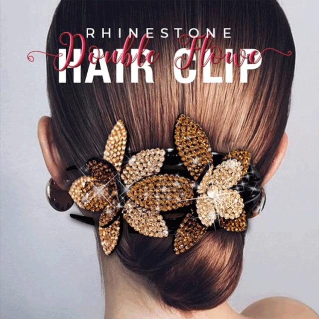 2/6 pièces strass Double fleur pince à cheveux femmes pince à queue daronde anti-dérapant peigne coiffe strass fleur pince à cheveux H