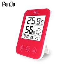 FanJu ميزان الحرارة الرقمي الرطوبة جدار الجدول ساعة مكتب المنزل الحمام شرفة دراسة الراحة عرض درجة الحرارة ساعة ديكور