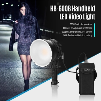 NiceFoto 60W HB-600B Handheld LED Light 5500K Bluetooth APP Remote Dual Power Supply with Recharge Li-ion Battery Carry Bag