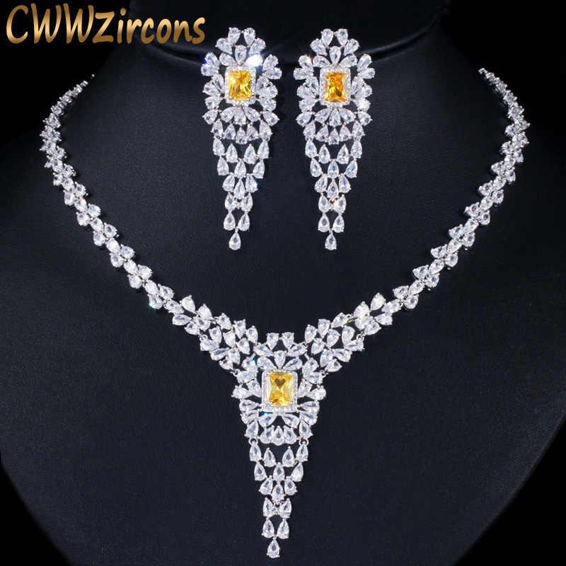 CWWZircons คุณภาพสูง Pear Cubic Zirconia ผู้หญิงหรูหรางานแต่งงาน Evening Party ชุดเครื่องประดับสีเหลืองคริสตัล T243